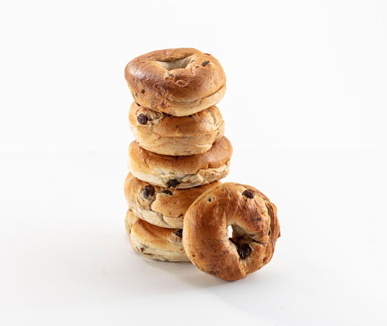 stack of cinnamon raisin bagels from Gold Medal Bakery