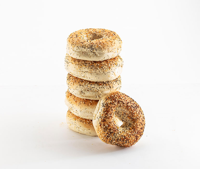 stack of everything bagels from Gold Medal Bakery