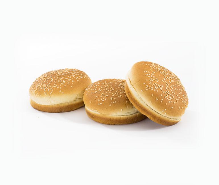 three seeded hamburger rolls from Gold Medal Bakery