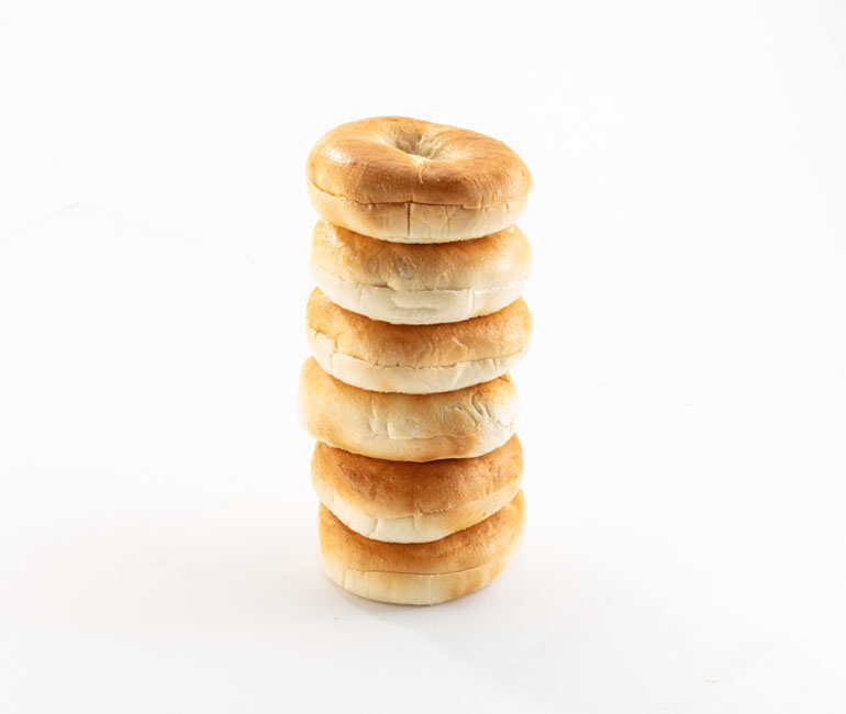 stack of 6 plain bagels from Gold Medal Bakery