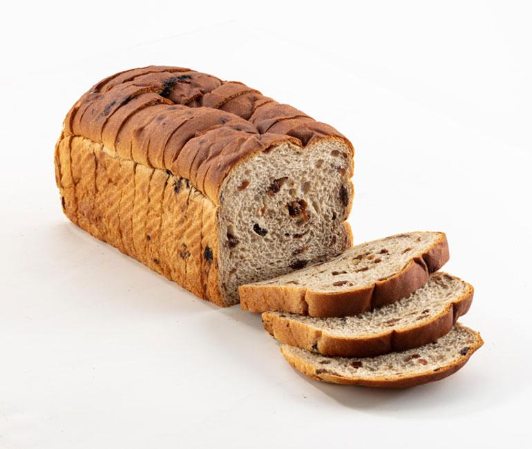 sliced loaf of Gold Medal Bakery raisin bread
