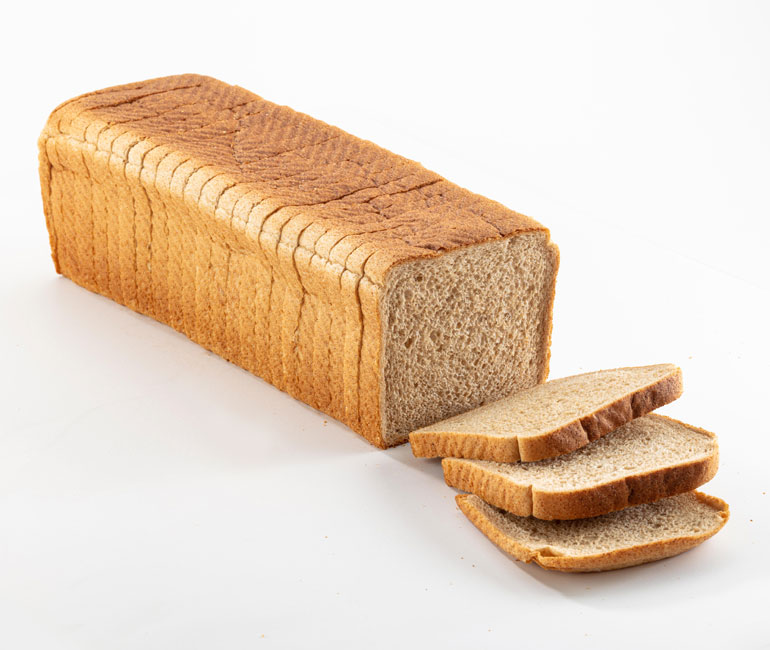sliced loaf of Gold Medal Bakery restaurant wheat bread
