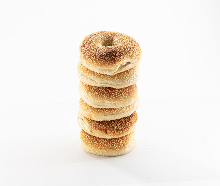 stack of 6 sesame bagels from Gold Medal Bakery