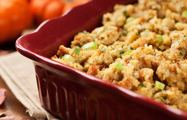 Thanksgiving stuffing made using Gold Medal Bakery bread