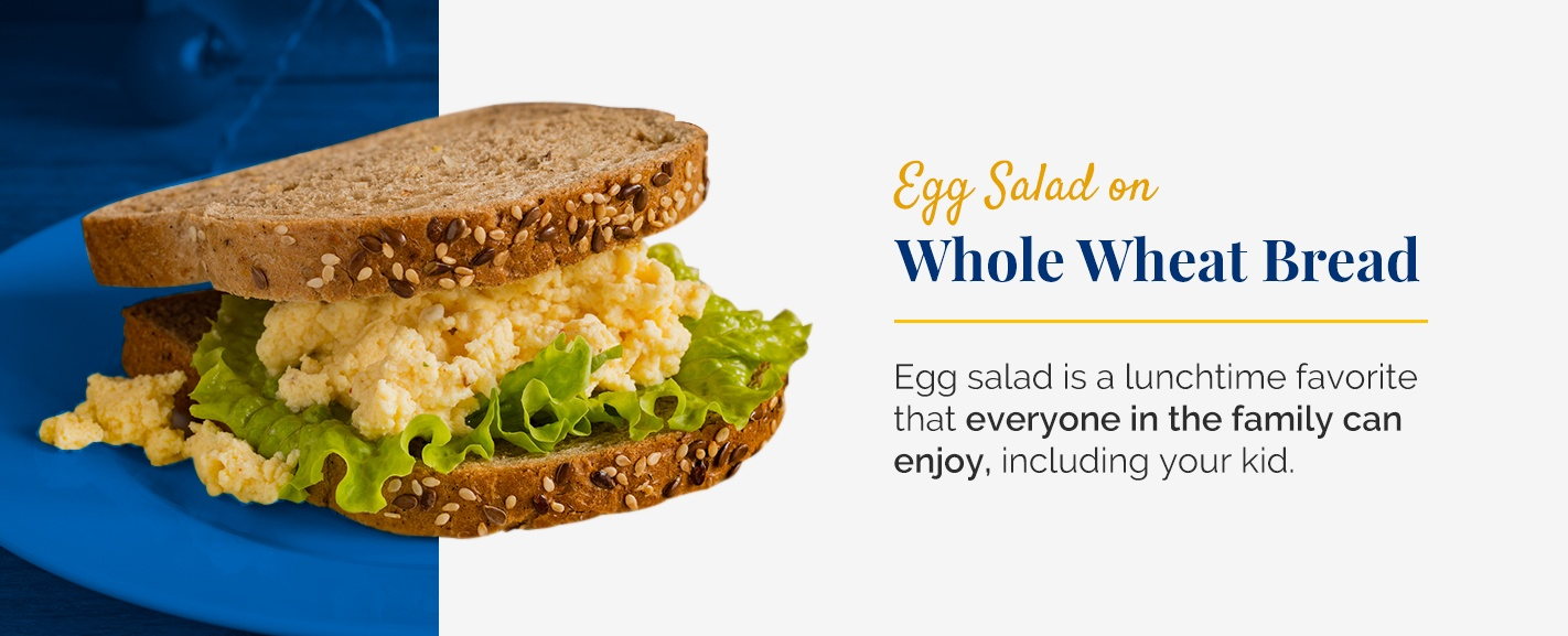 Egg salad on whole wheat bread