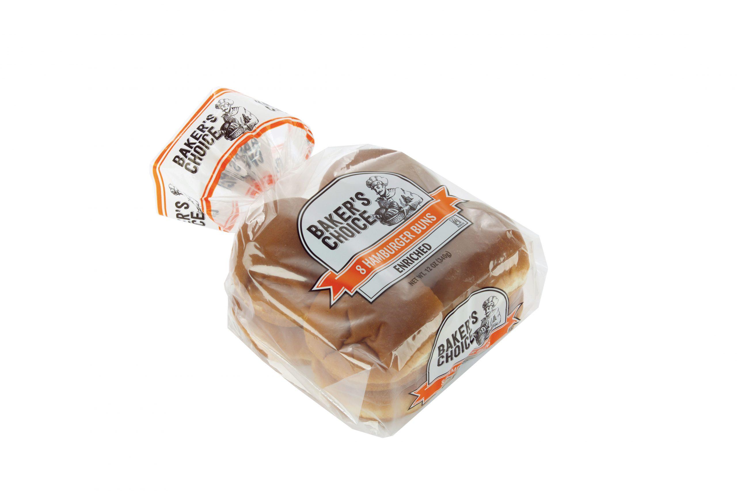 package of Baker's Choice hamburger buns